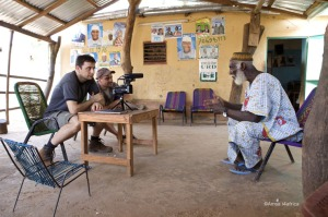 Paul Chandler and team interview a village leader in Mali